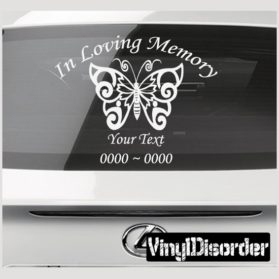 Butterfly  In Loving Memory Custom Car Or Wall Vinyl Decal - Custom vinyl decal stickers for cars