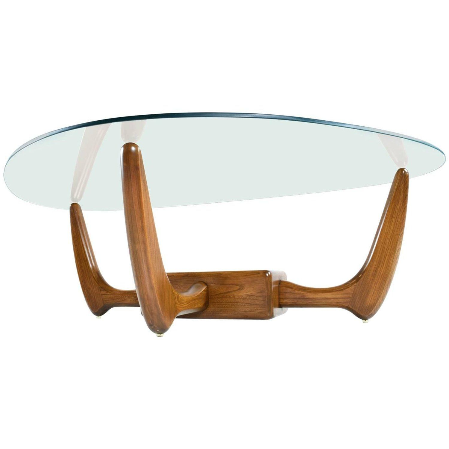 Adrian Pearsall Style Glass Top Solid Oak Base Coffee Table With Planter Large Square Coffee Table Vintage Coffee Glass Top Coffee Table [ 1500 x 1500 Pixel ]