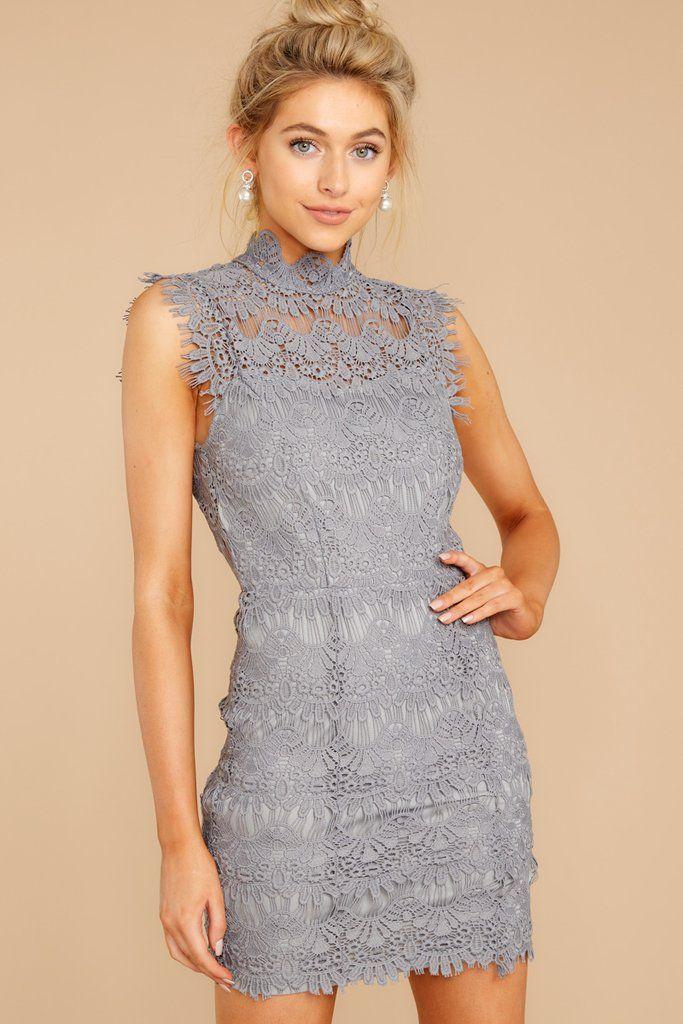 Laced In Chic Grey Lace Dress #weddingguestdress