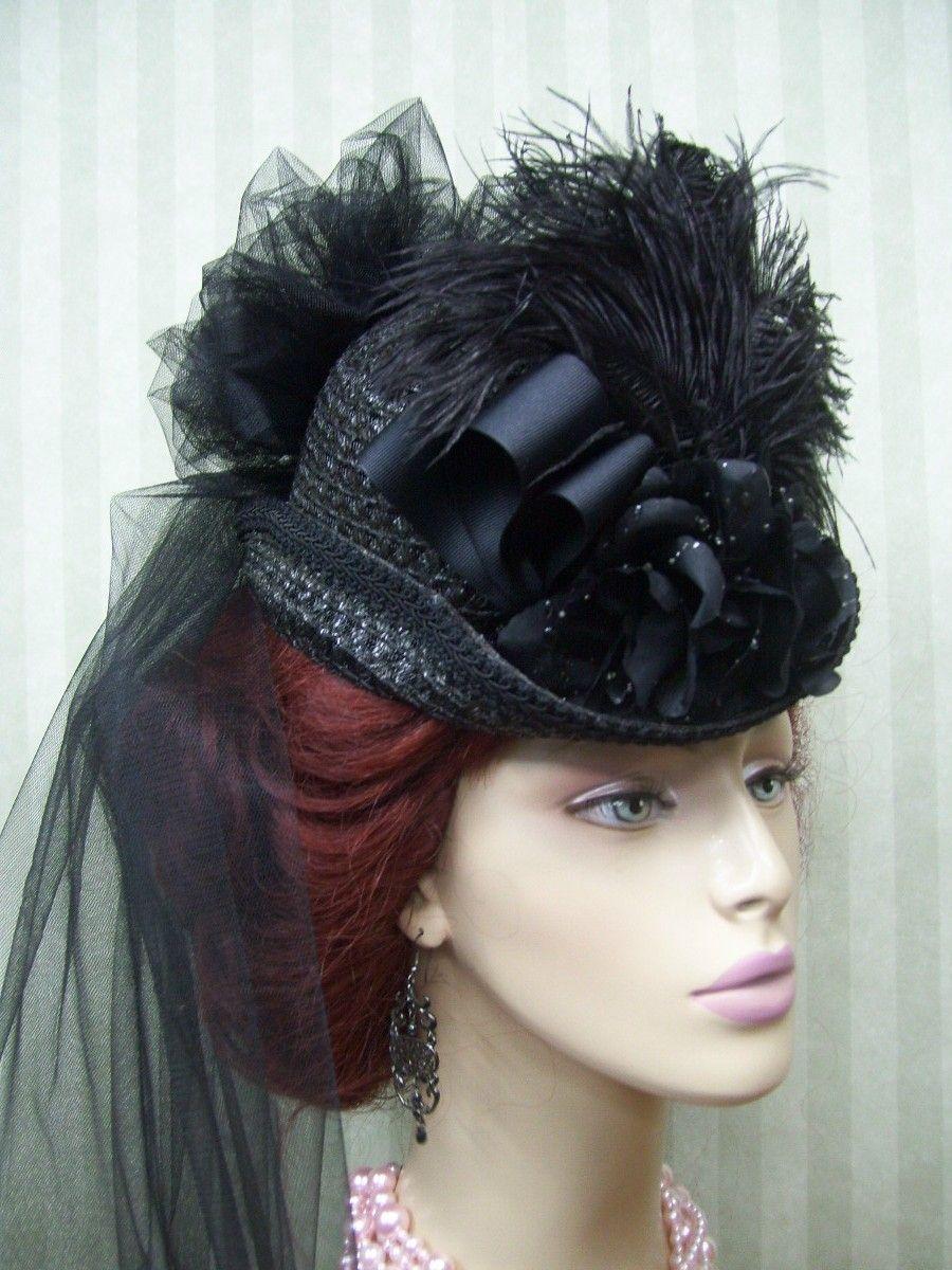 9377320da Victorian Ladies-Civil War-Derby-Lolita-Neo Victorian-Steampunk-Black-Hat