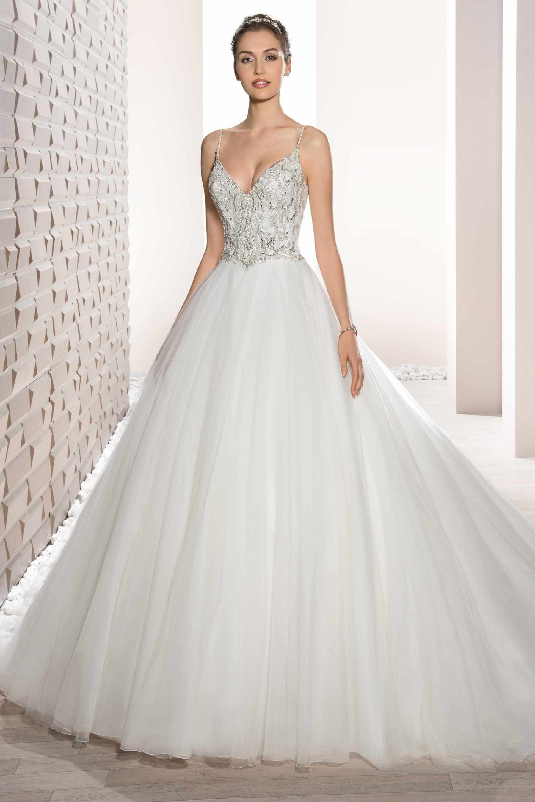 Demetrios wedding dress style shimmering beaded embroidery