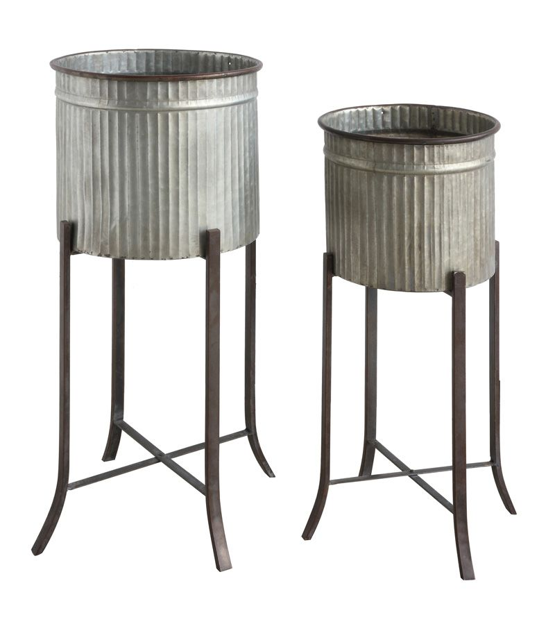Galvanized Planter With Rustic Metal Stand 94 Fhw As Seen In