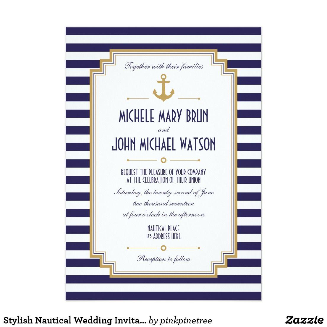 Stylish Nautical Wedding Invitation Beach Wedding Invitation