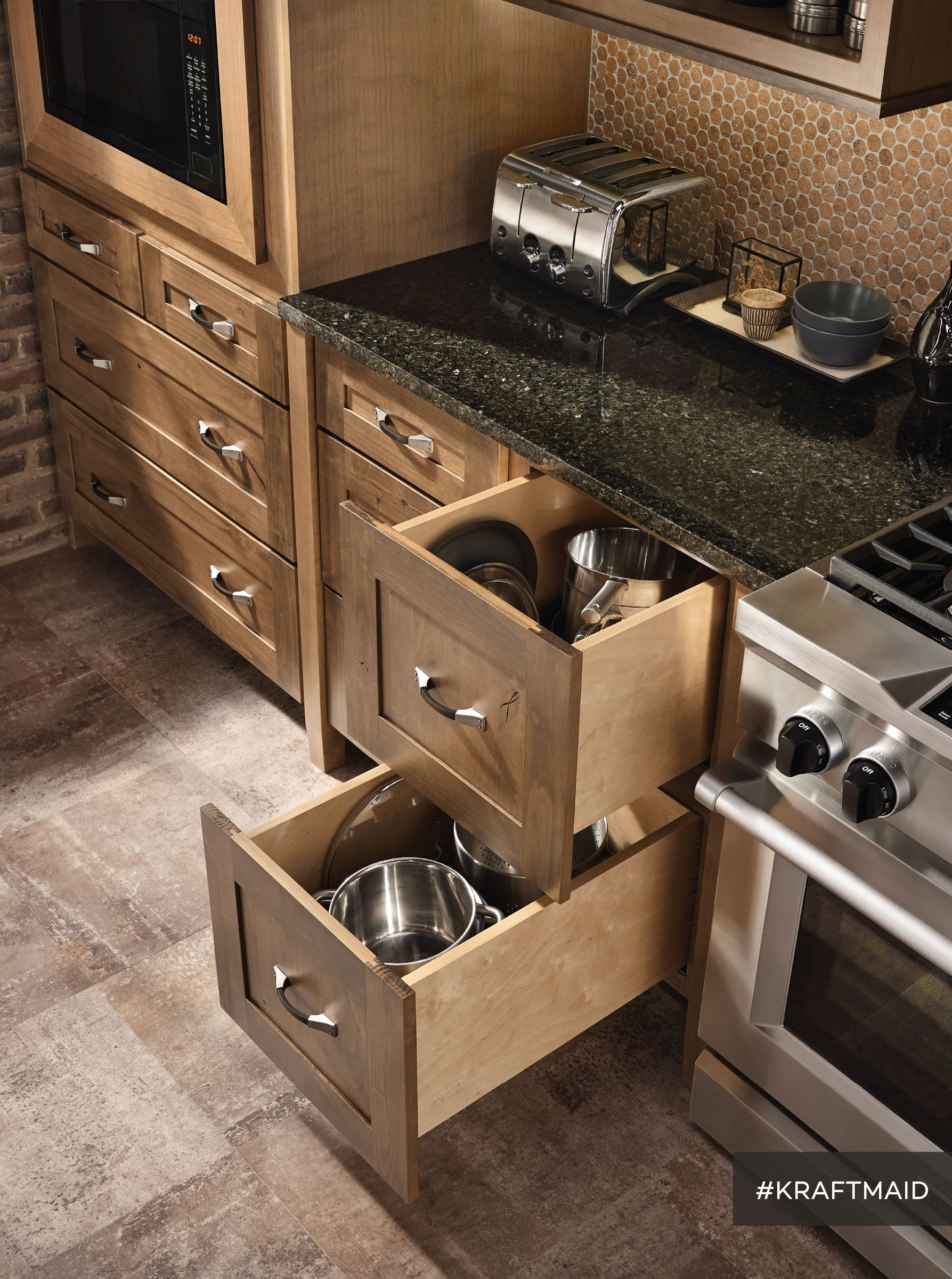 Easy access kitchen storage for big pots and pans—and since 90 lb