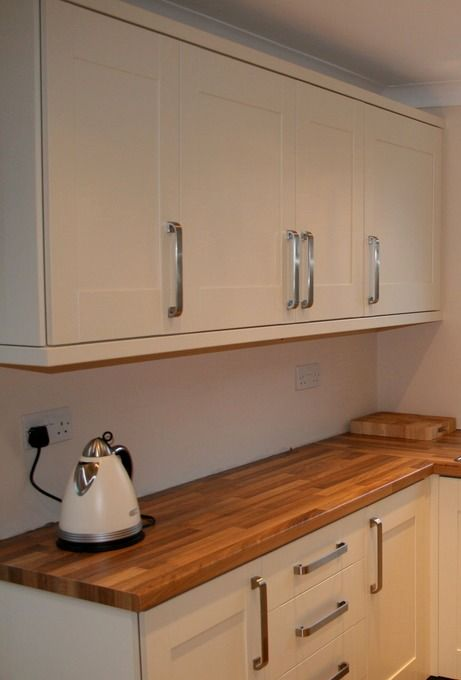 Superb Existing Kitchen Transformed With Painted Cupboard Doors, New Handles And  Wood Worktops Nice Design
