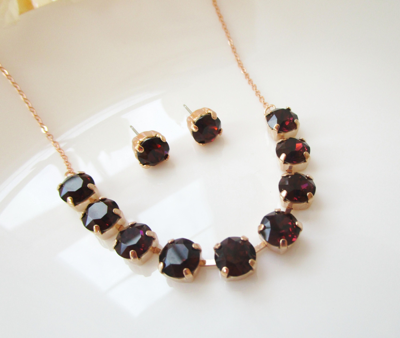 Rose Gold Necklace Earrings Burgundy Crystal Earrings Wine Earrings