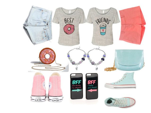 """Best Friends Outfit #2"" by blue99star on Polyvore featuring JFR, Torrid, See by Chloé, WithChic, Judith Leiber, Converse, Pink, BFF, Blue and bestfriendoutfit"