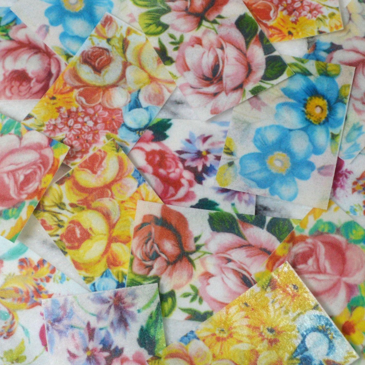 Edible floral chintz wafer paper medium rectangle