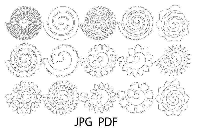 Photo of Flor laminada Svg, Plantilla de flores, Flores de papel enrolladas Svg, Flores svg, Archivo de corte de flor enrollada, 3d rosa svg, Flor de papel enrollado, Origami