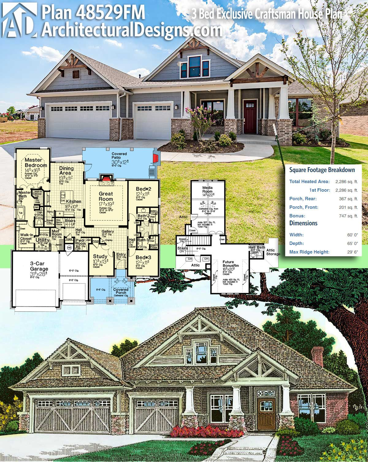Plan FM Bed Exclusive Craftsman House Plan Square feet
