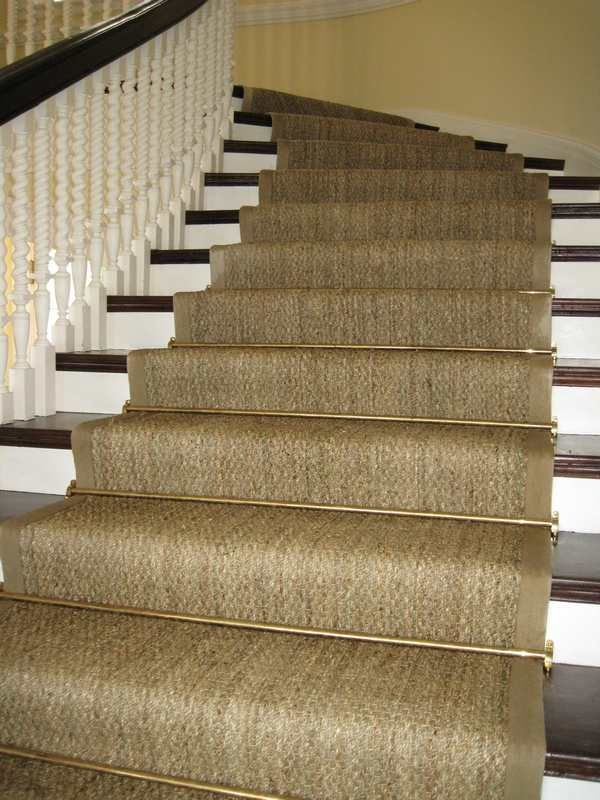 Best Custom Curved Seagrass Stair Runner Antique Brass Rods 400 x 300