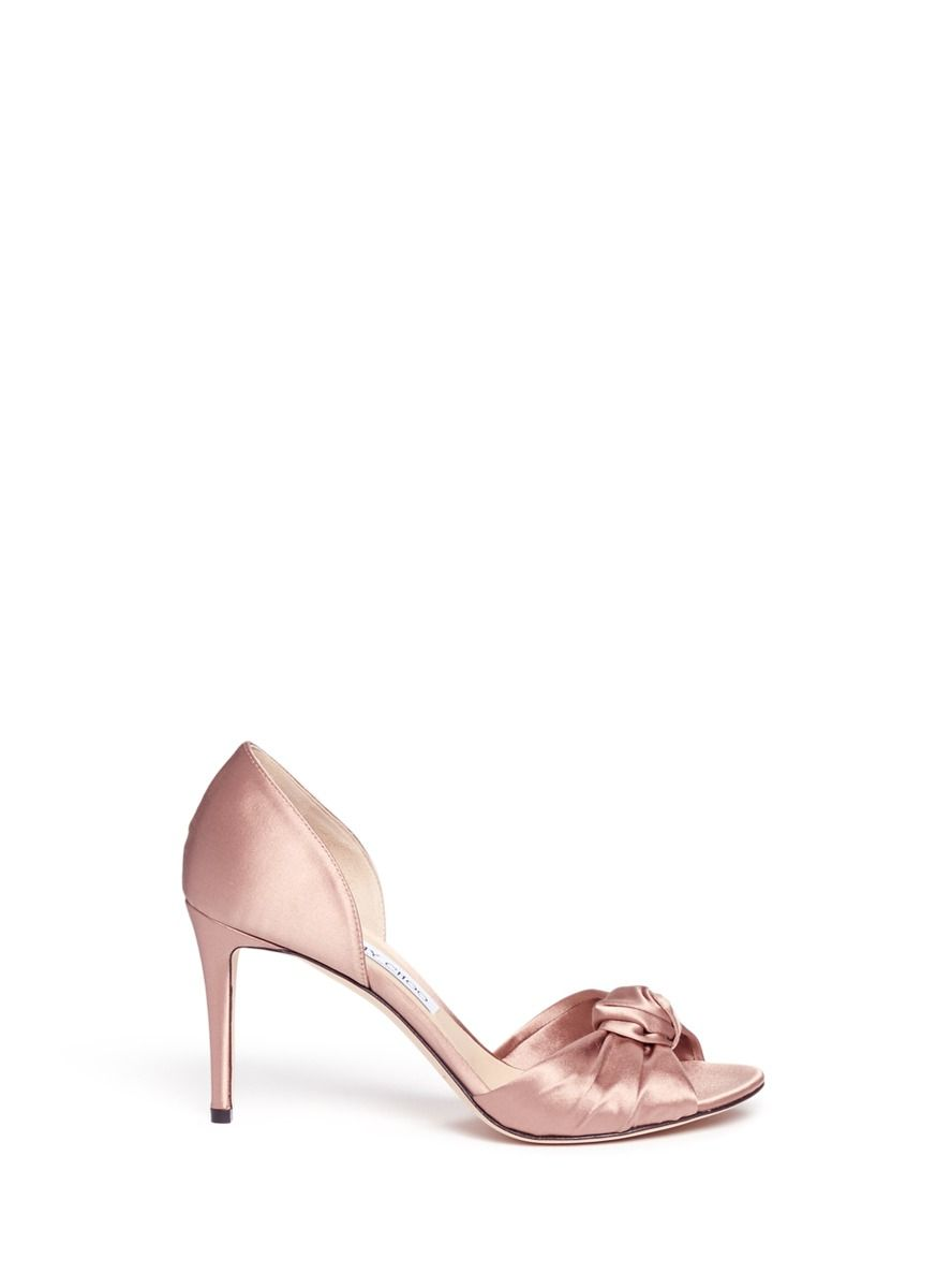 JIMMY CHOO 'Kitty 85' knotted bow satin d'Orsay pumps. #jimmychoo #shoes #pumps