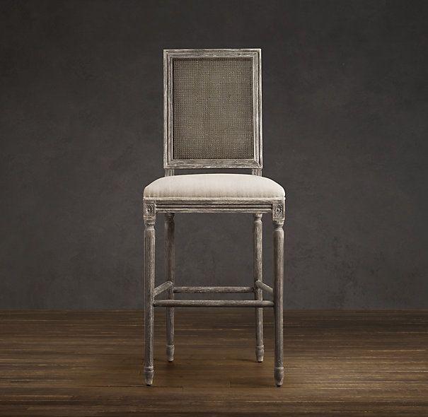 Vintage French Square Cane Back Upholstered Stool