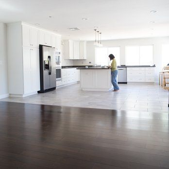 enchanting living room kitchen floor tile | seamless transition from wood to tile in kitchen | Yelp in ...