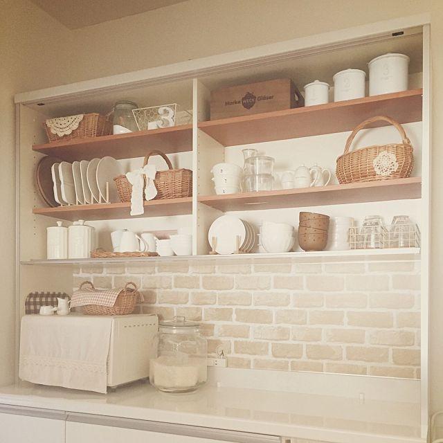 キッチン リメイクシート 食器棚リメイク 食器棚 ナチュラル などの