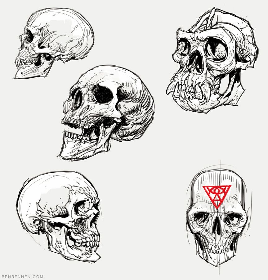sketch skulls ทรงผม โครงหน า pinterest sketches digital art