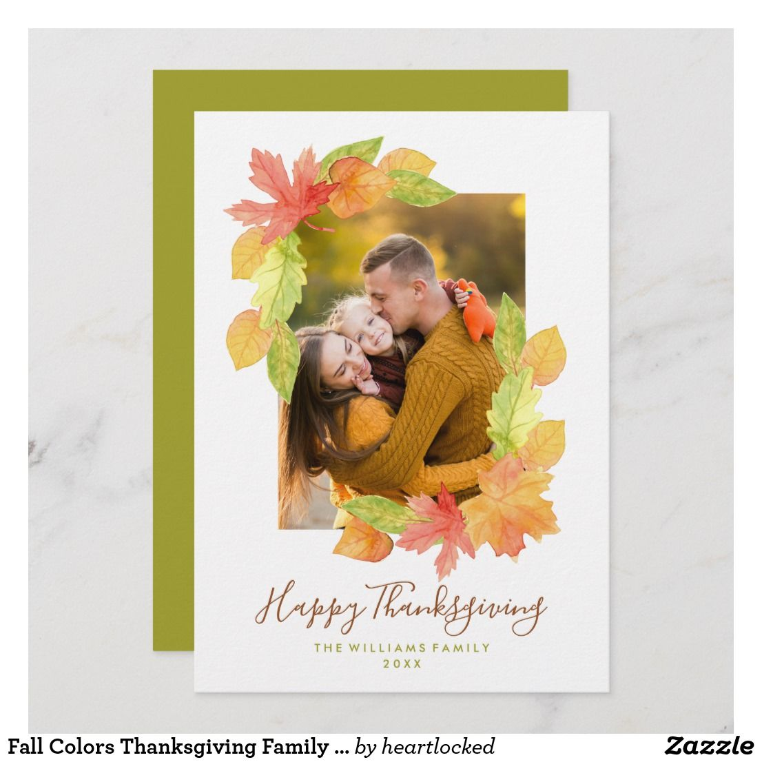 Fall Colors Thanksgiving Family Photo Holiday Card