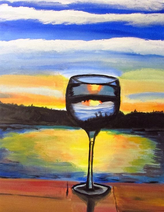 Mothers Day Gift, Wine Decor, Wine Glass Artwork, Wine Painting ...