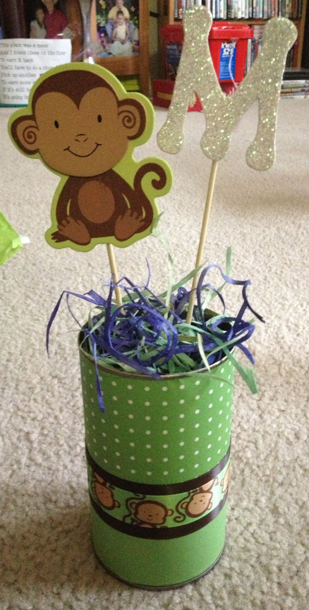 made these monkey centerpieces for a baby shower baby shower