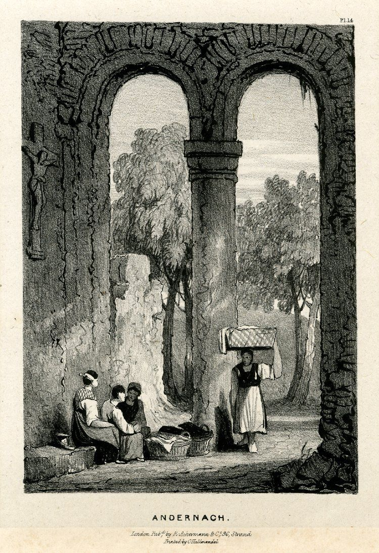 Plate 14. Three women seated on a stone bench next to two baskets on the floor, and a third woman approaching, supporting a basket on her head with her left hand, inside a church, behind the entrance of two round arches, through which are seen a ruined wall and trees outside; a crucifix on the wall at left; from Part 3 of the series. 1832 Lithograph on chine collé
