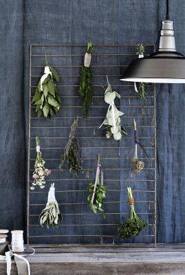 Large Zinc Herb Drying Rack - fresh herbs!