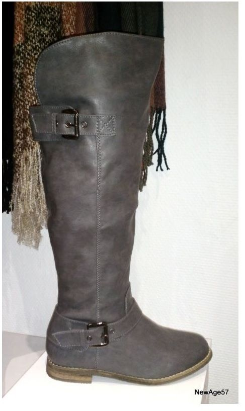 fe0d1201aa173 Bottes hautes GRIS cuissardes chaussures femme cuir talon ...