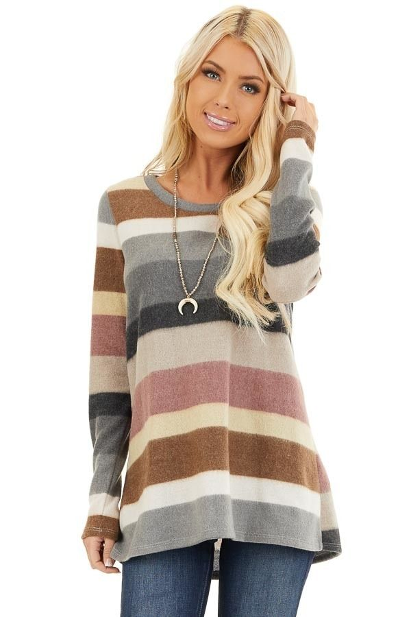 Multi Color Striped Fuzzy Long Sleeve Tunic Top #stripedlongsleevetops