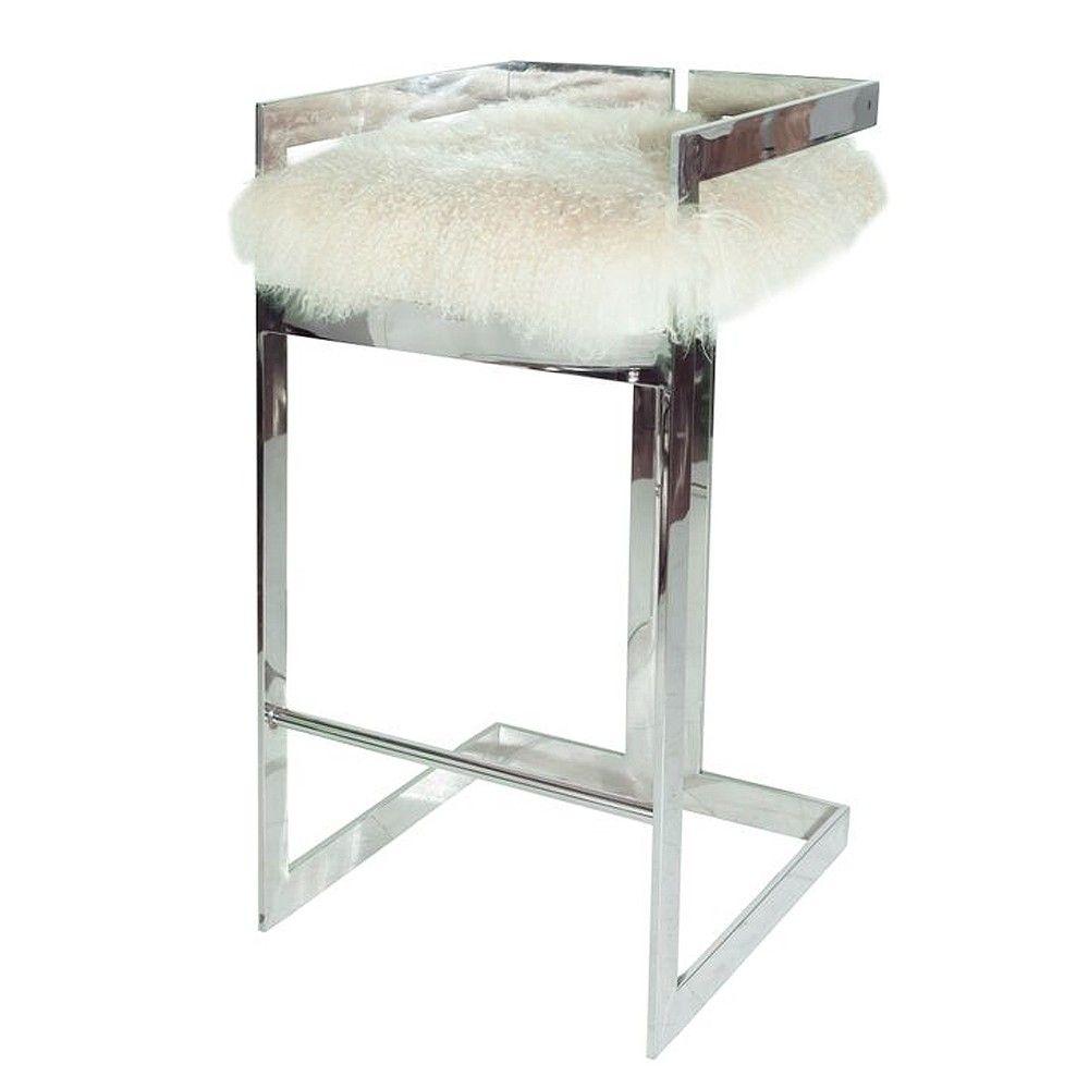 Linear bar stool with nickel base & Mongolian fur cushion.