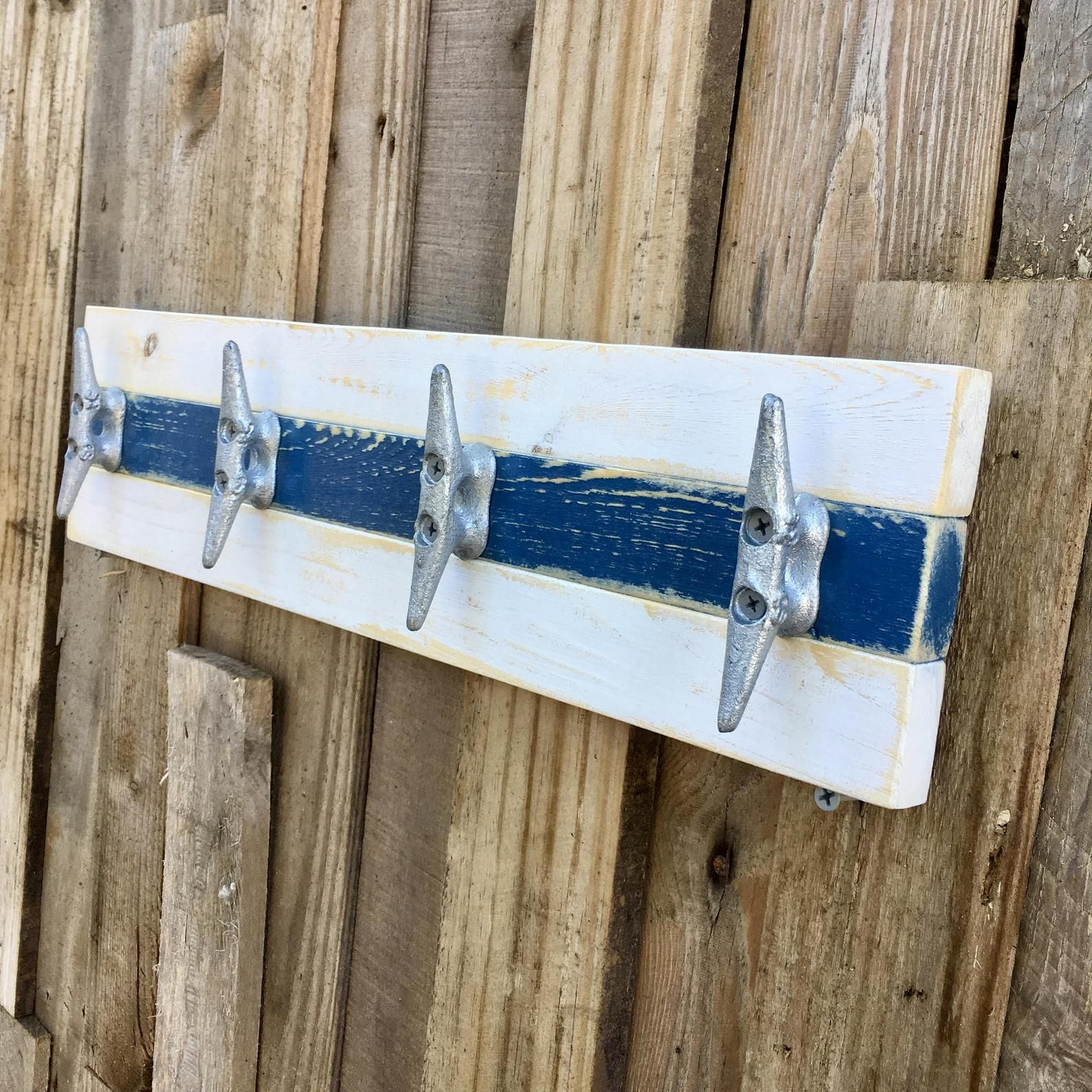 Boat Cleat Coat Rack Nautical Towel Rack Hat Rack Book Bag Rack Key Rack Distressed White And Blue Boat Cleat Towel Rack Boat Cleats Nautical Towel