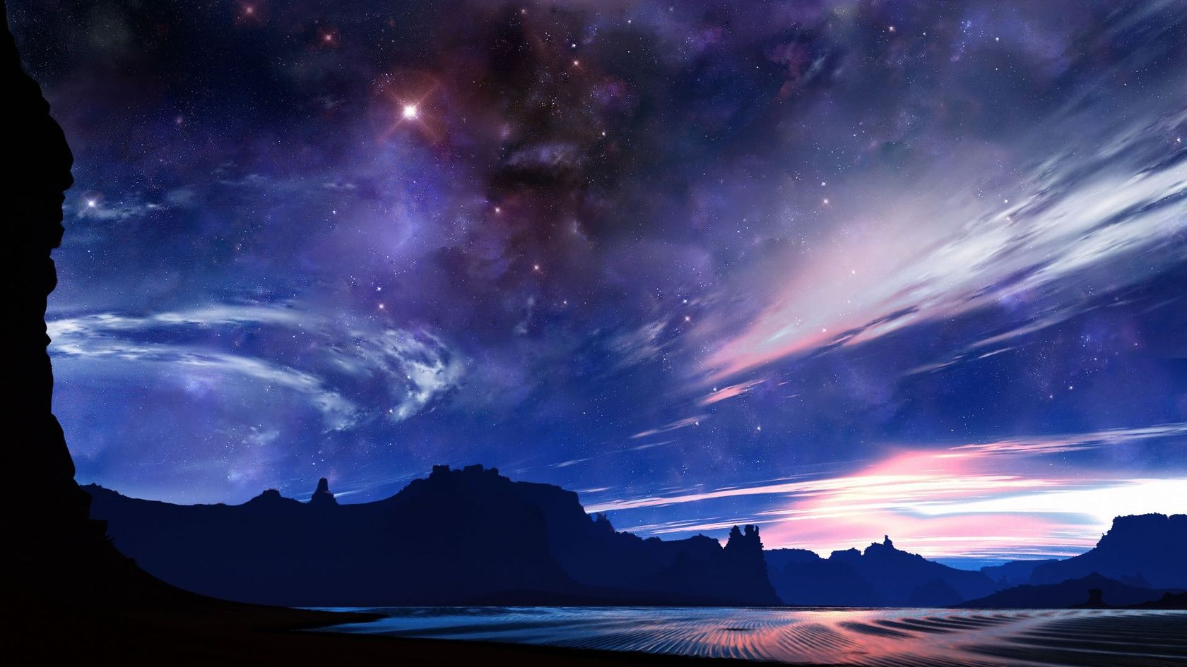 Desert Night Sky High Definition Hd Wallpaper Other Forkyu Com Sky Images Aesthetic Desktop Wallpaper Night Skies