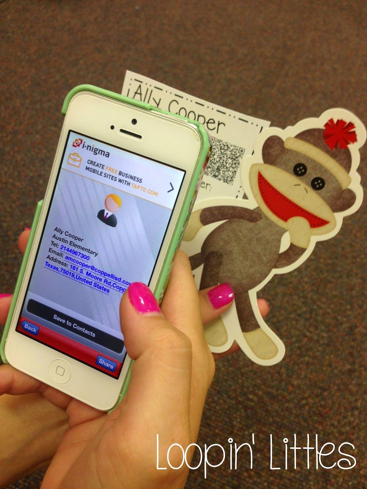 Loopin' Littles Create a QR Code on your business card