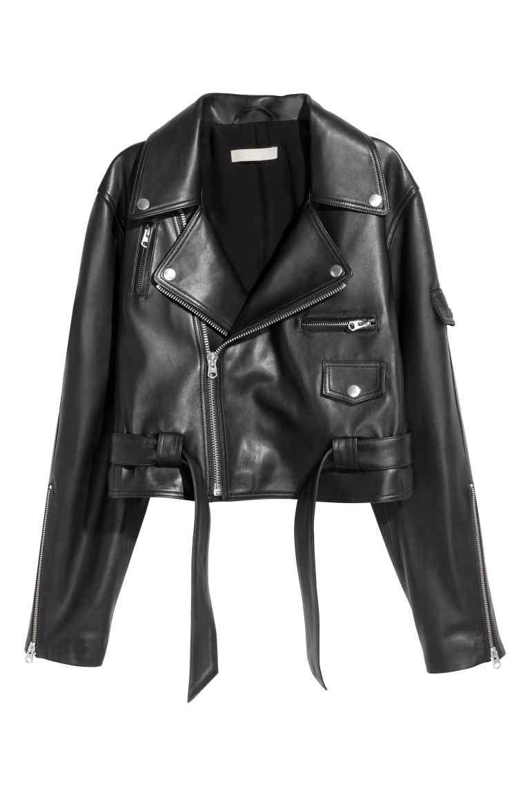 Veste en cuir noir femme hm