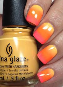 Nail Art using China Glaze Metro Pollen-Tin as a base,  then did the gradient with Orange Knockout (Neon) and Thistle Do Nicely.  Sunset nails.