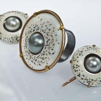 Vrubel Ring and Earrings.  Vitreous enamel, Tahitian pearls, 22K gold, 18K gold, fine silver, oxidized silver.