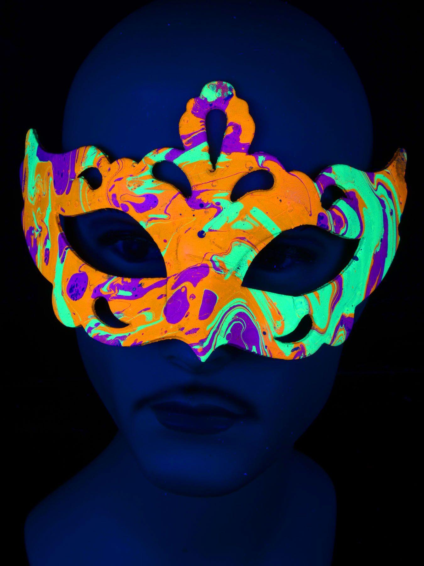 "Schwarzlicht Psywork Maske Colombina Murano ""Multicolor Princess"" #blacklight #schwarzlicht #psy #neon #party #karnevall #fasching #mask #magic #marble #halloween"