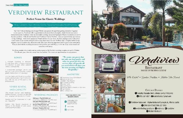 Verdiview Restaurant Is An Econative Themed Restaurant Located In Alfonso Cavite They Offer Affordable Wedding Venue That Venue Rental Venues Wedding Catering