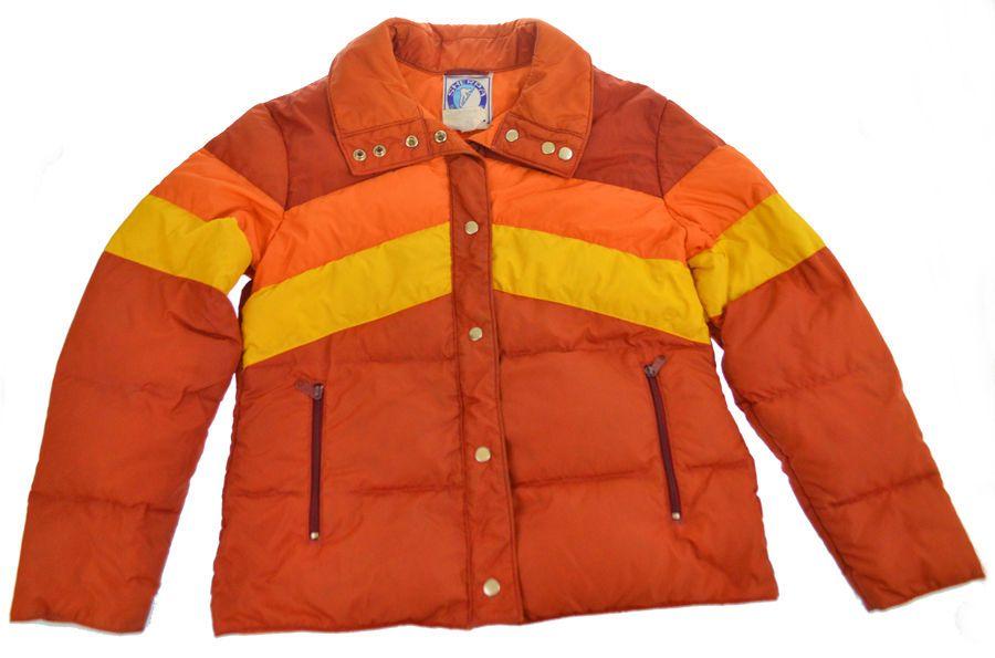 Vintage Puffer Jacket M L Winter Down Feather Coat Orange Yellow 70s 80s  Retro  SherpaHimalaya  Jacket c9e12bf69