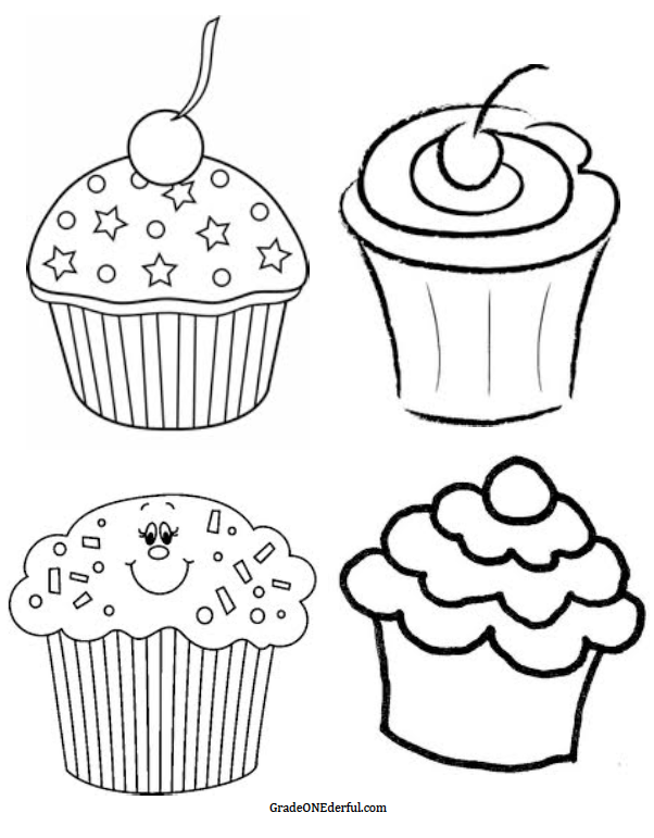 Icolor Cupcakes Four Cupcakes But I Want More Iii Cupcake Coloring Pages Black And White Cupcakes Clip Art