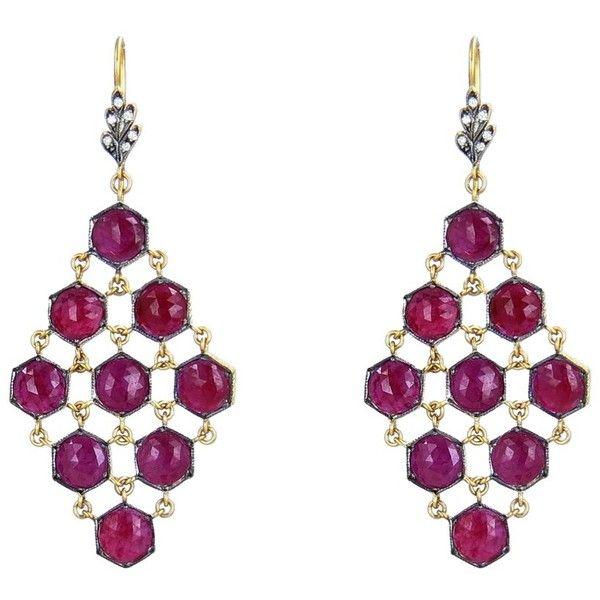 Cathy Waterman Rose Cut Ruby Mesh Earrings - 22 Karat ($13,380) ❤ liked on Polyvore