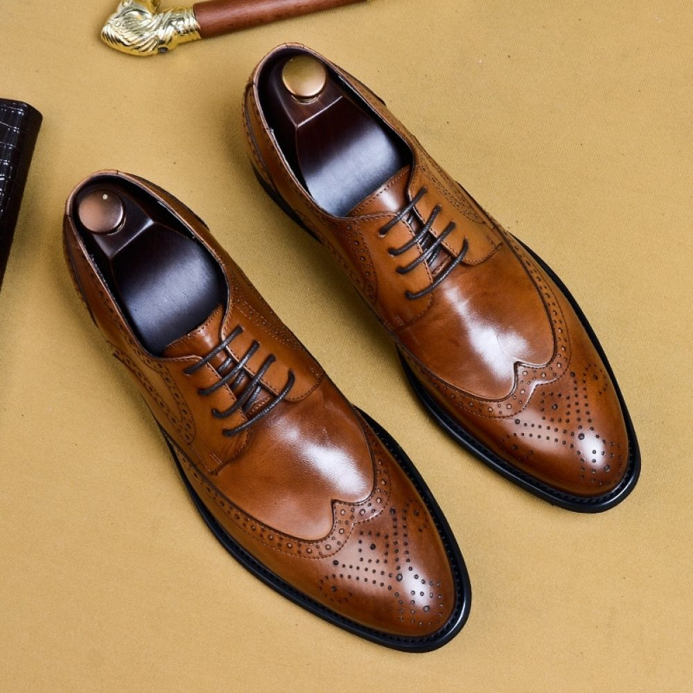 Brogues Buty Meskie Genuine Leather Oxford Shoes For Men Oxford Shoes Men Leather Oxford Shoes Dress Shoes Men