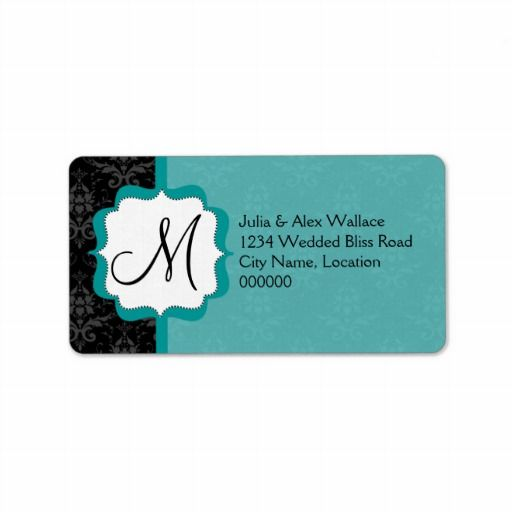 Elegant Monogram Teal Damask Personalized Address Label