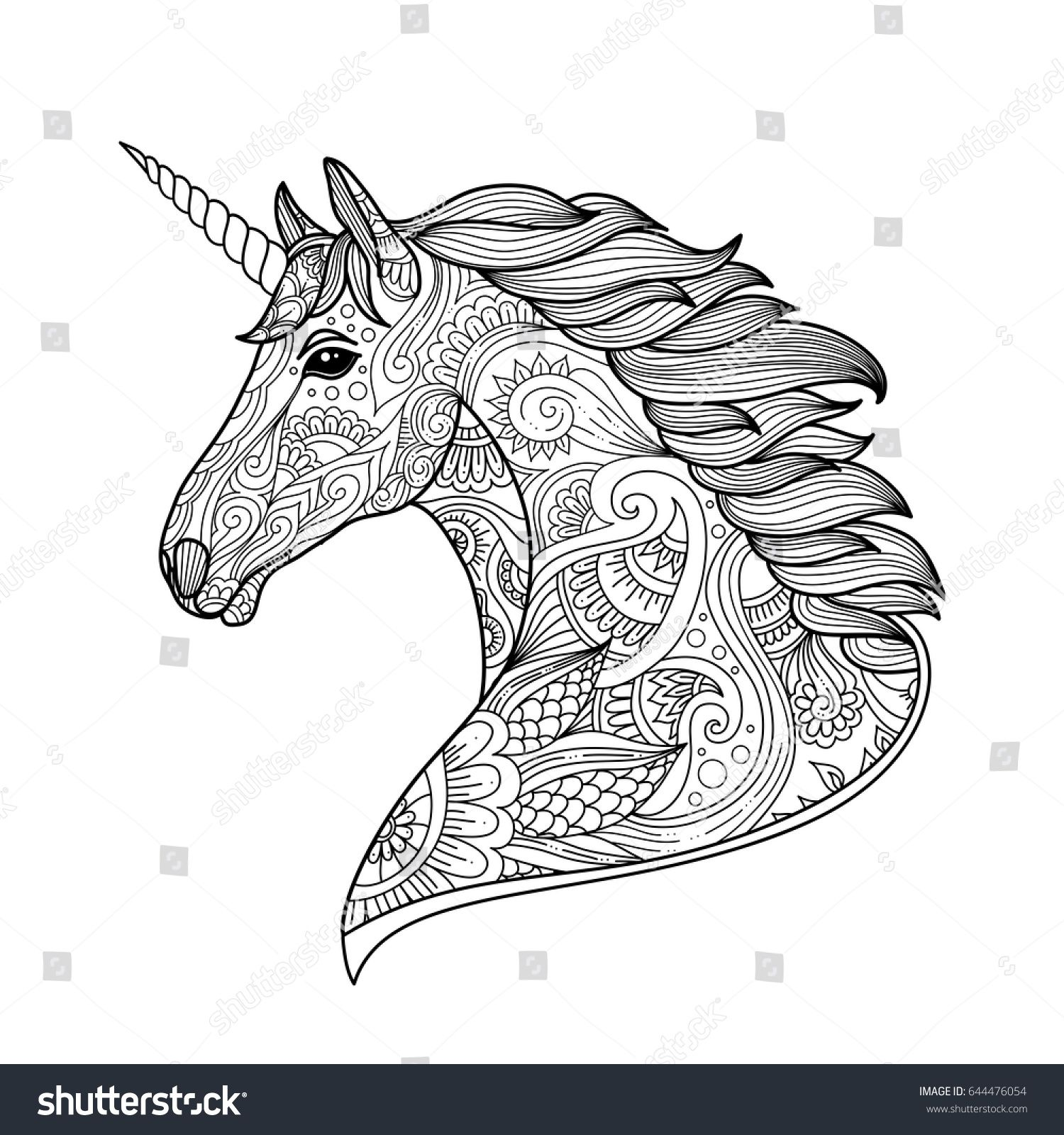 Drawing Unicorn Zentangle Style For Coloring Book Tattoo Shirt Design Logo Sign Stylized Illustration Of Horse In Tangle Doodle