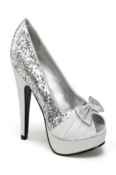 Silver Glitter Satin Bow Platform Open Toe Pump Heels   Amiclubwear Heel  Shoes online store sales Stiletto Heel Shoes 4c41ac677a2a