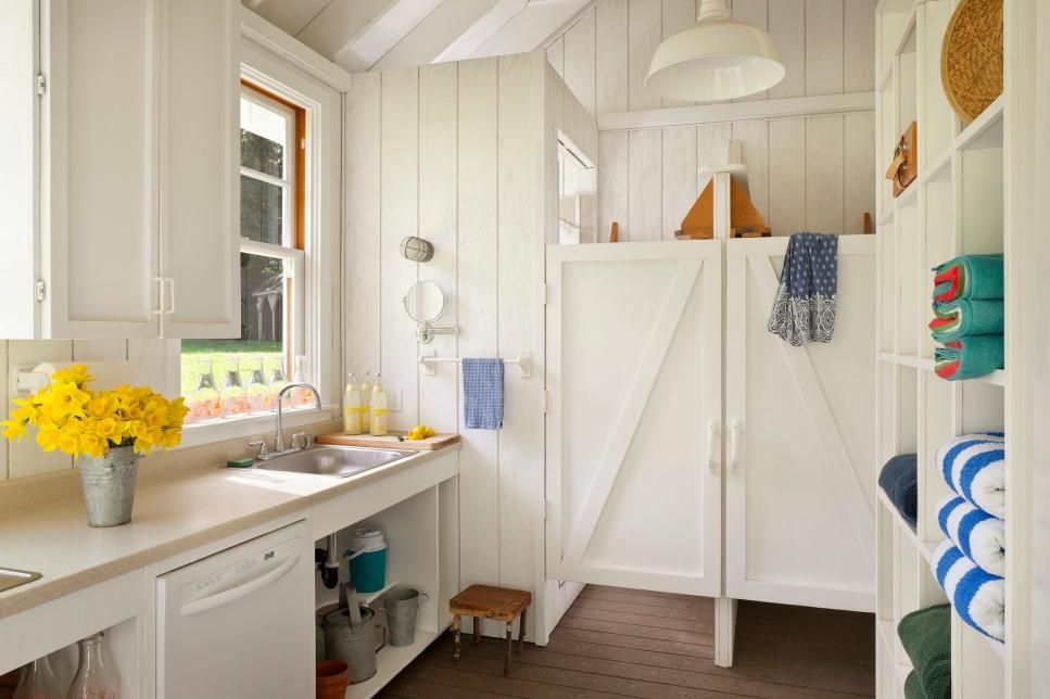 Wood Paneling And Stallstyle Doors Evoke A Renovated Barn In This Best Bathroom Stal Style