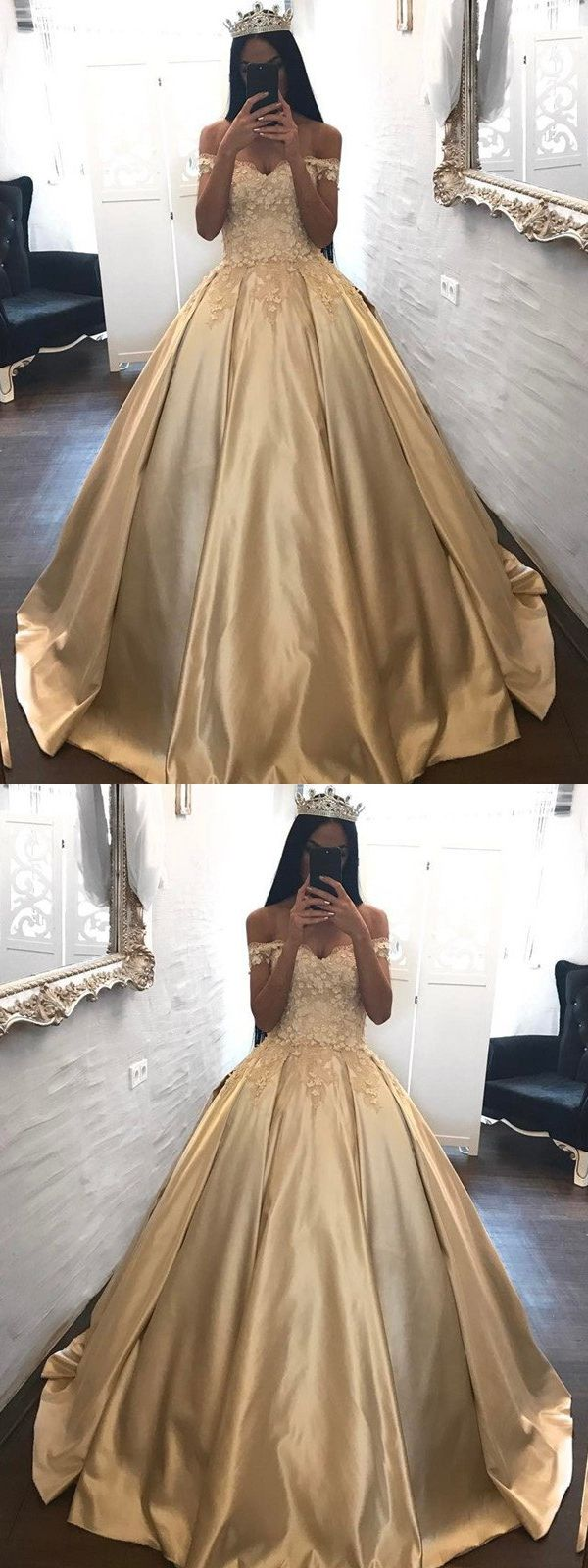 Ball gown prom dresses offtheshoulder appliques satin prom dress