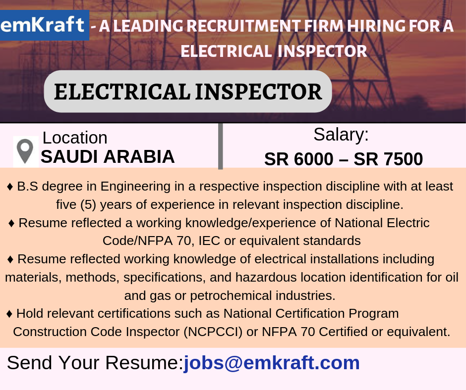 job Openings in Saudi Arabia ElectricalInspector2019