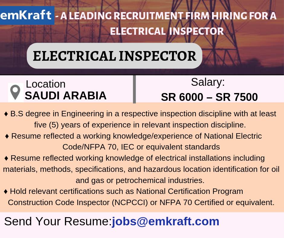 job Openings in Saudi Arabia ElectricalInspector2019