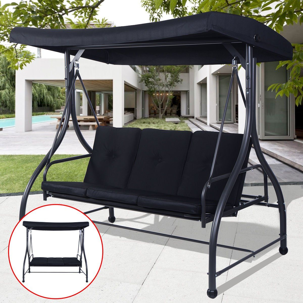 Black Converting Bed Swing Hammock Chair Patio 3 Person Seat With ...