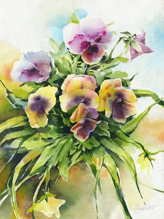 Peinture De Bouquet De Fleurs Aquarelle Originale Par Olgasternyk