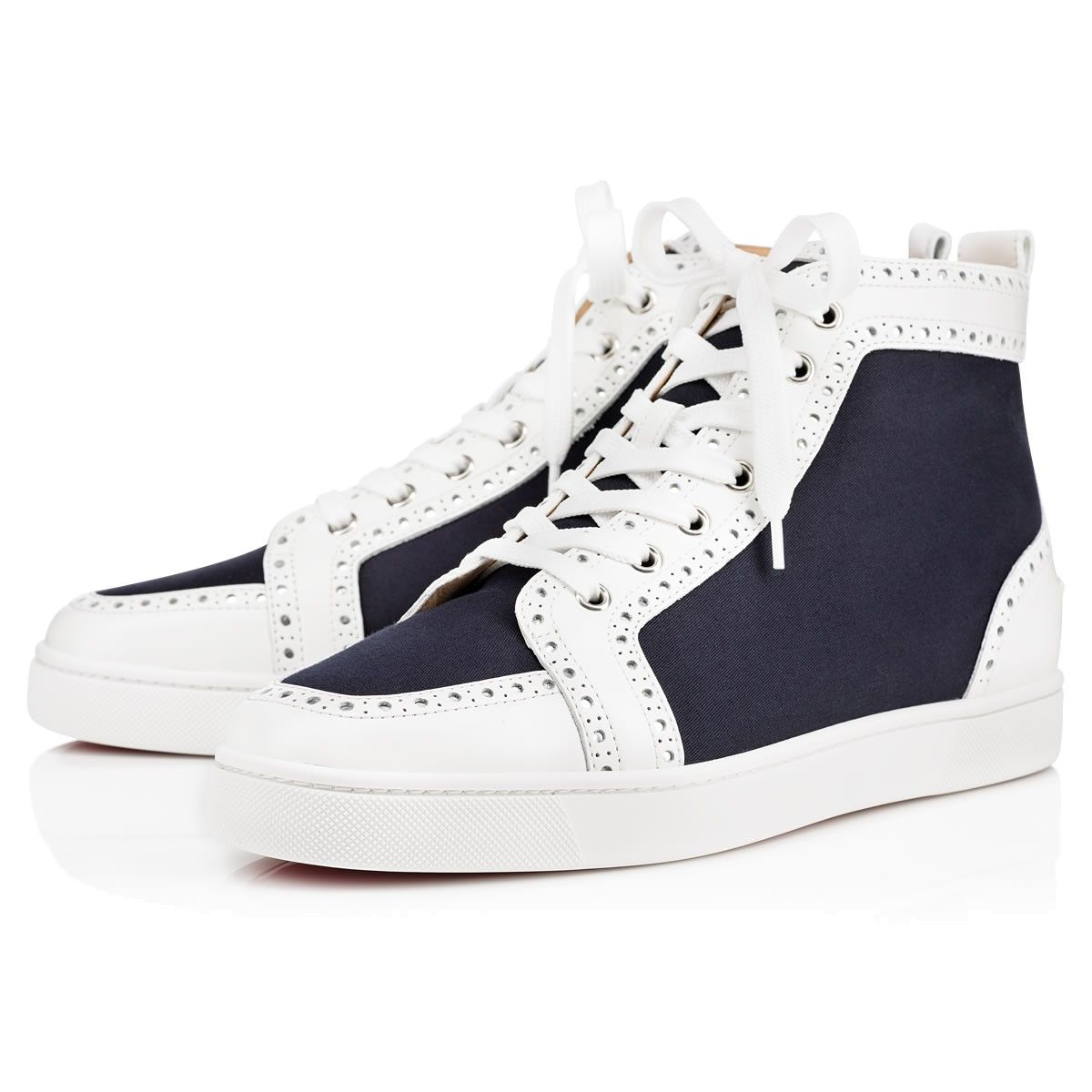 Fleuri Mens Flat White Navy Cotton / Christian Louboutin